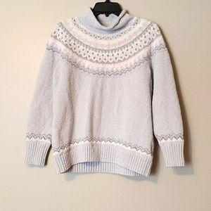 L.L.Bean zigzag funnelneck pullover print sweater…